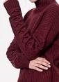 Vero Moda Boğazlı Uzun Triko Kazak Bordo
